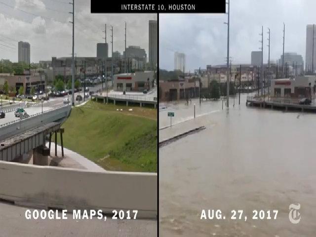 Houston trước và sau khi hứng bão Harvey