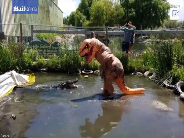 Khủng long 'nghịch dại' nhảy vào chuồng trêu cá sấu