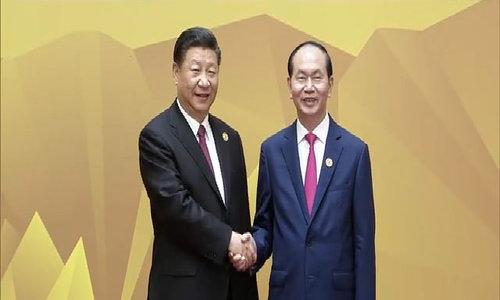 Chủ tịch nước đón lãnh đạo Trung Quốc tại Hội nghị cấp cao APEC