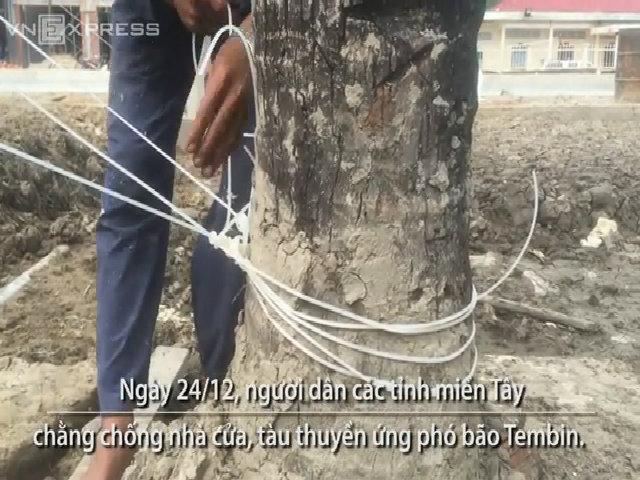 Bão Tembin giật cấp 12 sao dân miền Tây chằng nhà bằng dây cước?