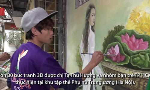 Họa sĩ Sài Gòn vẽ tranh 3D ở khu tập thể cũ Hà Nội