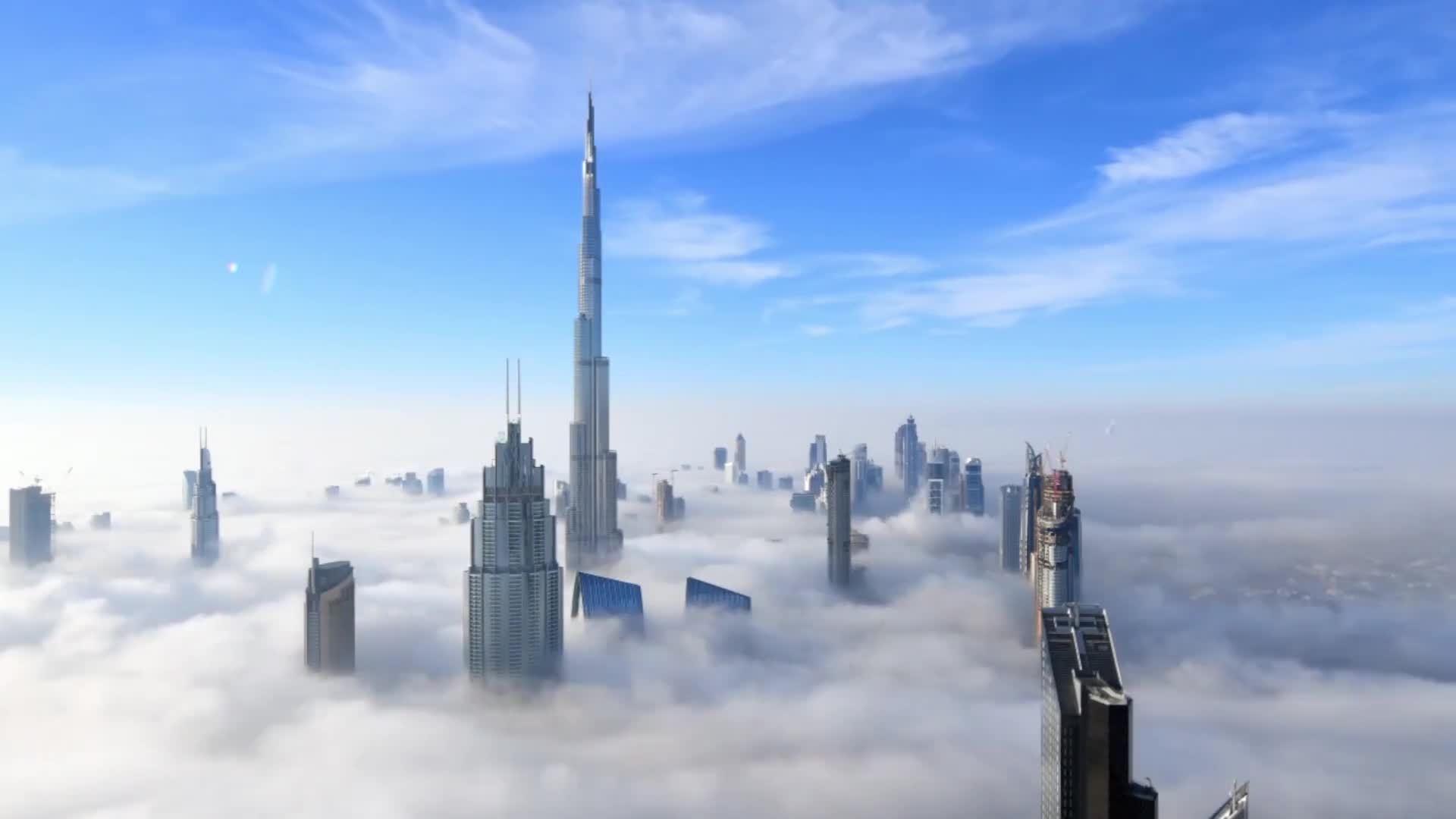 Khung cảnh mờ ảo trong sương mù ở Dubai