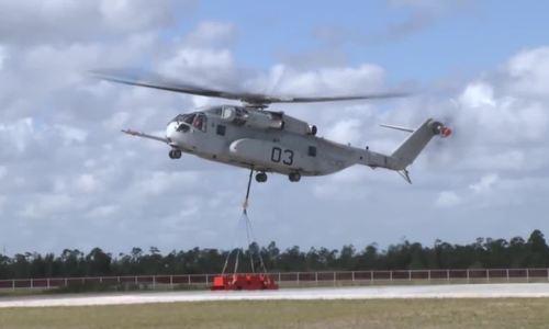 Trực thăng siêu mã Mỹ nâng thành công 16 tấn hàng