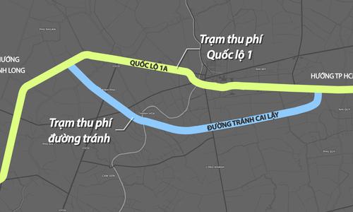 5 phương án xử lý BOT Quốc lộ 1 qua thị xã Cai Lậy