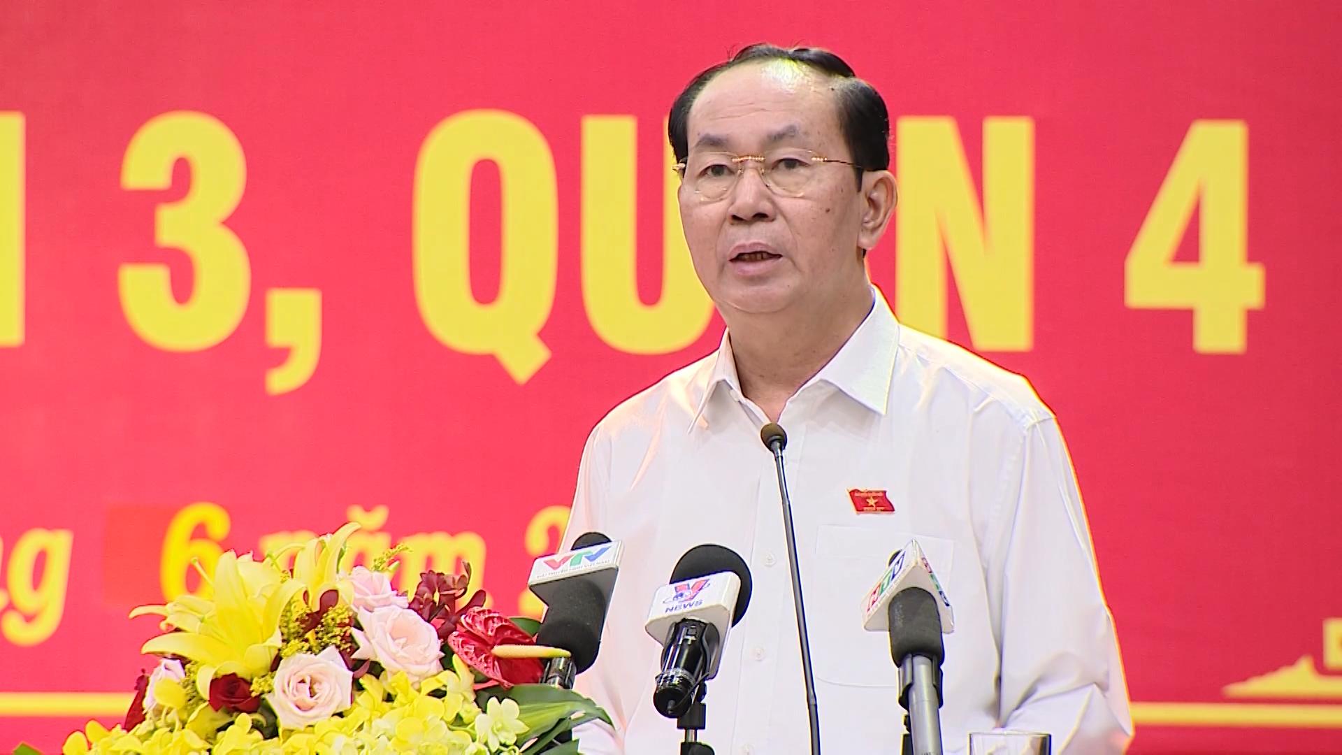 Chủ tịch nước Trần Đại Quang tiếp xúc cử tri TP. HCM