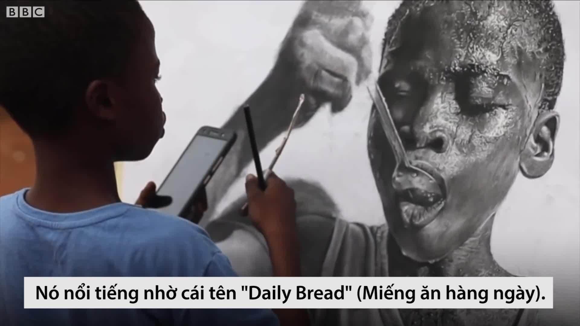 Biệt tài vẽ tranh y như chụp của cậu bé nghèo châu Phi