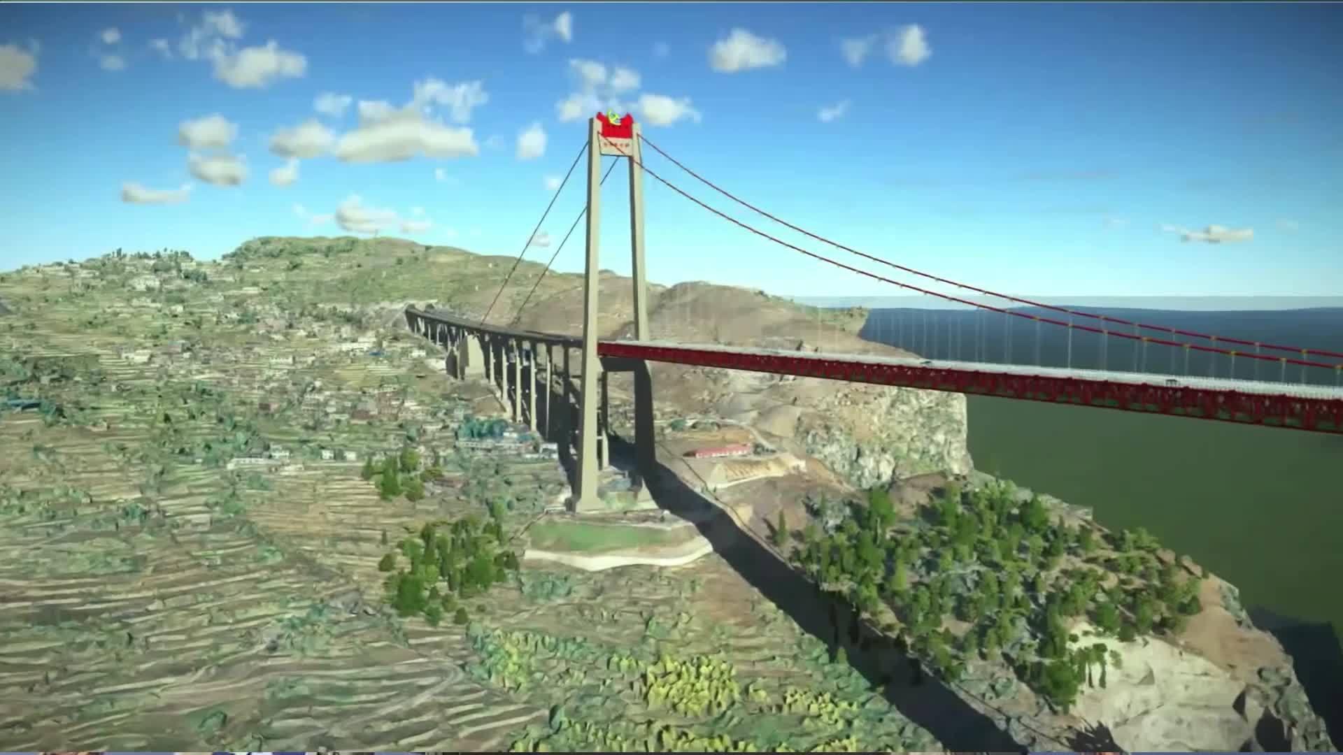 Drone hỗ trợ lắp đặt dây cáp cầu treo ở Trung Quốc
