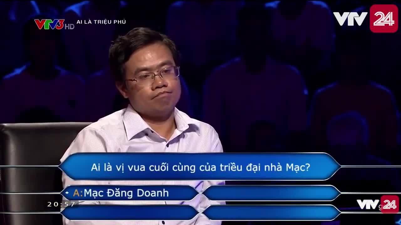 Người chơi Ai là triệu phú dùng cả 4 quyền trợ giúp vẫn trả lời sai