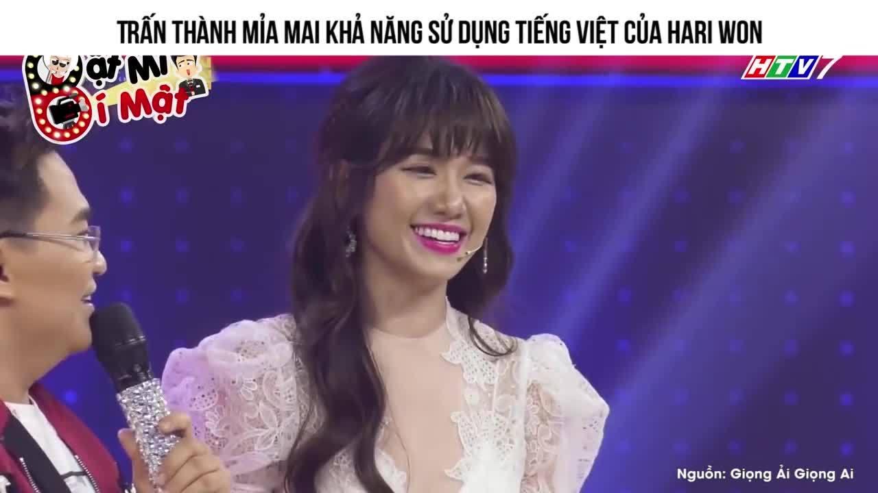 Trấn Thành mỉa mai khả năng dùng tiếng Việt của Hari Won