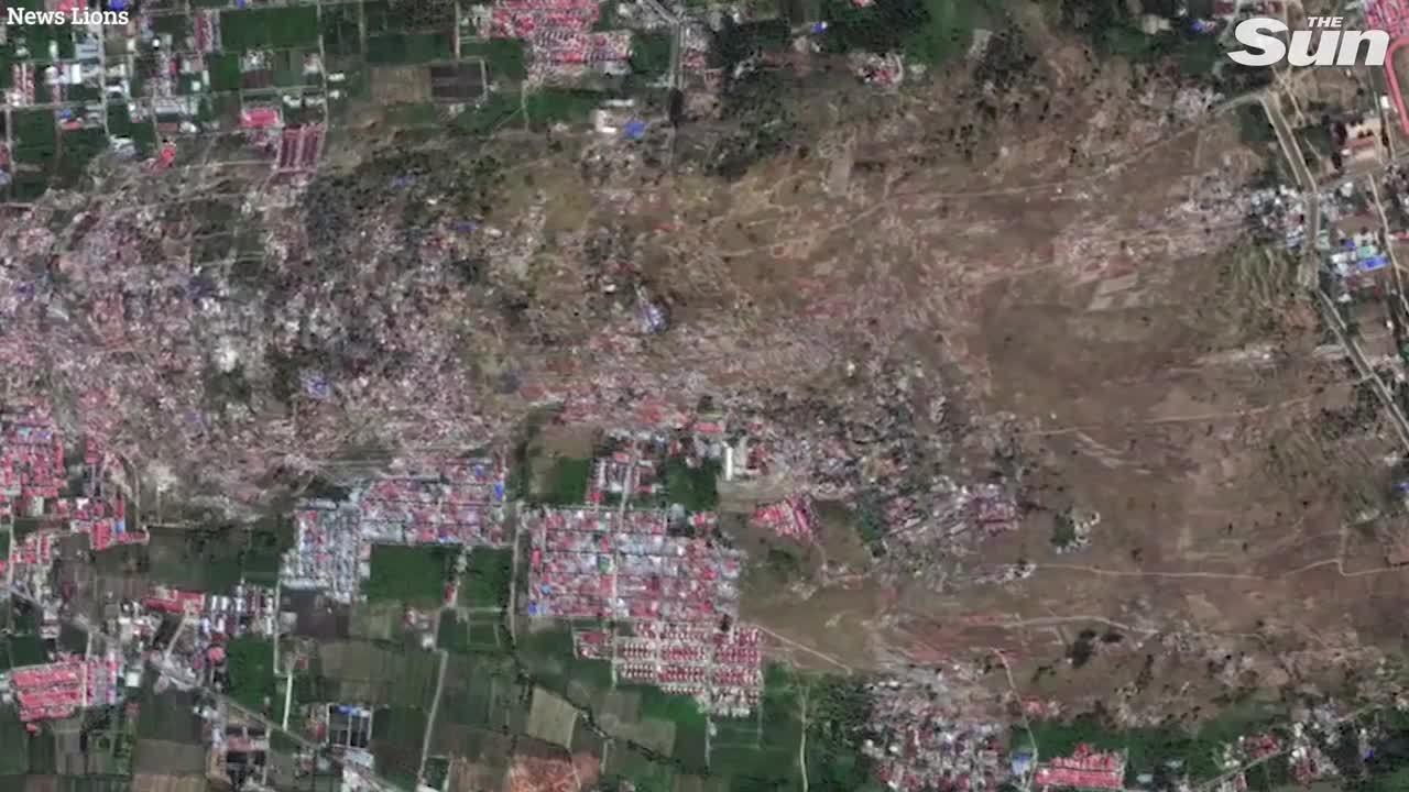 Cảnh ngôi làng ở Indonesia bị xóa sổ do 'đất hóa lỏng' nhìn từ vệ tinh