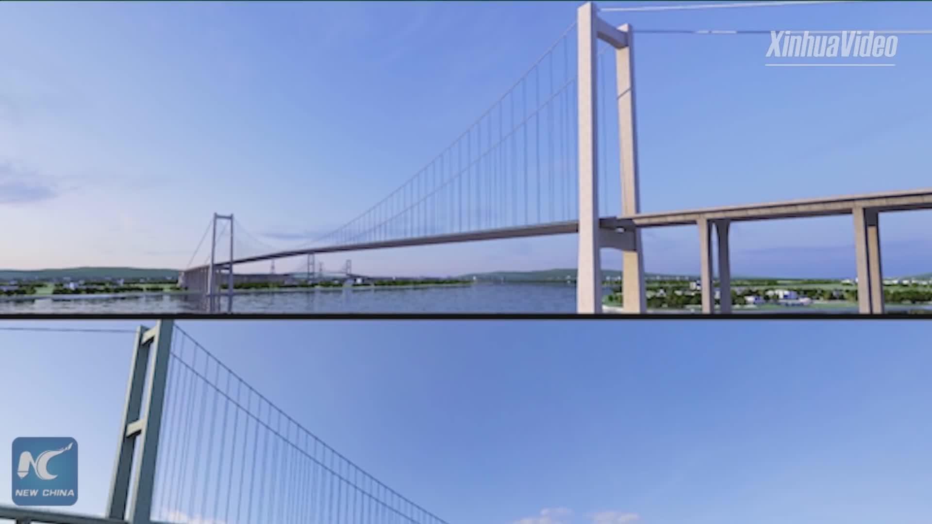 Diện mạo siêu cầu treo sắp hoàn thiện trên sông Châu Giang