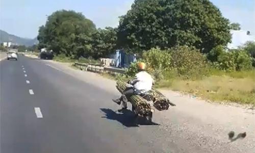 Người đàn ông ngồi trên hai bó tre to buộc bên hông xe máy