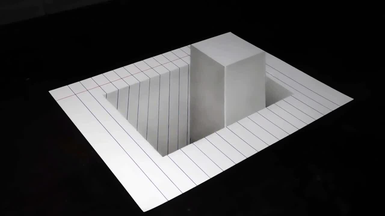 Cách vẽ hình khối chữ nhật lọt thỏm giữa tờ giấy