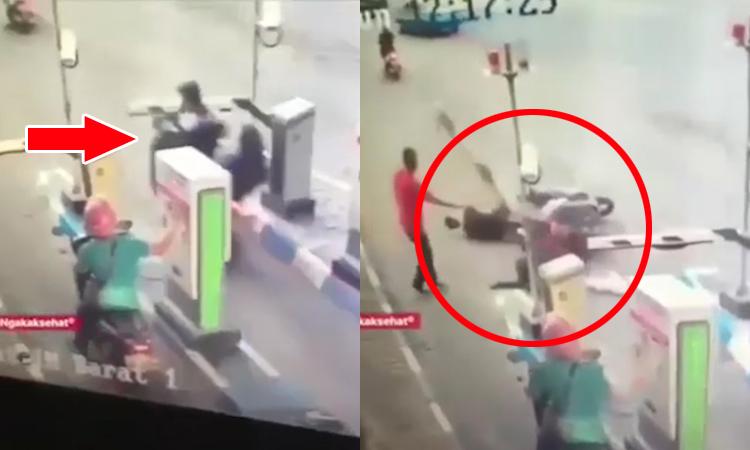 Cặp đôi ngã sấp mặt vì dùng điện thoại khi lái xe