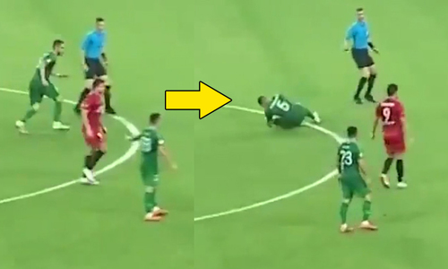 Cầu thủ tại Trung Quốc lao vào trọng tài rồi lăn ra ăn vạ