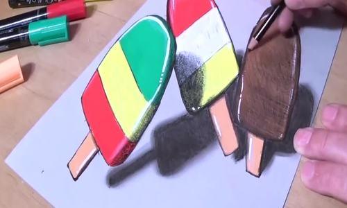 Mẹo vẽ que kem 3D dành cho trẻ