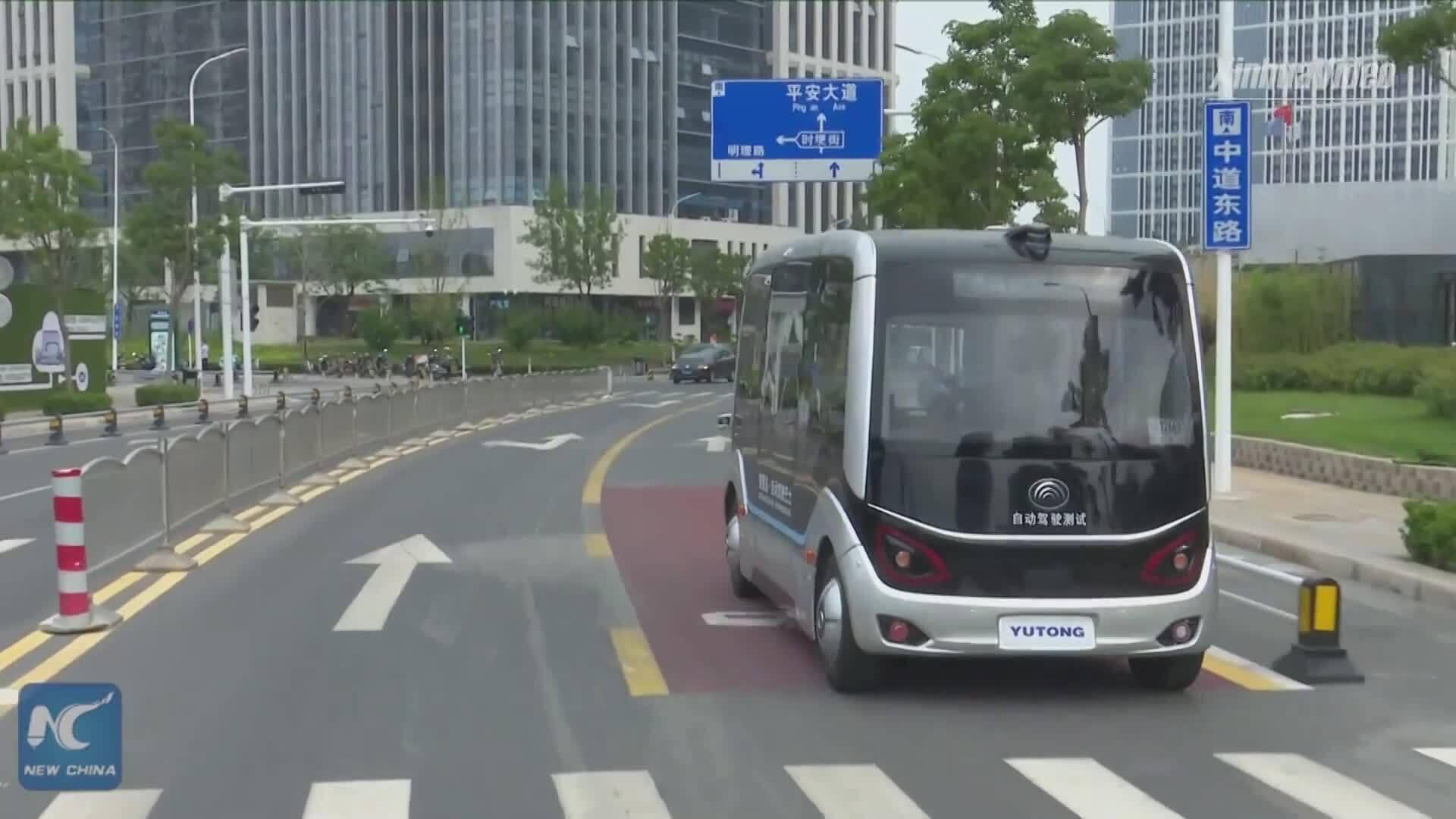 Xe buýt 5G không người lái chạy thử nghiệm ở Trung Quốc
