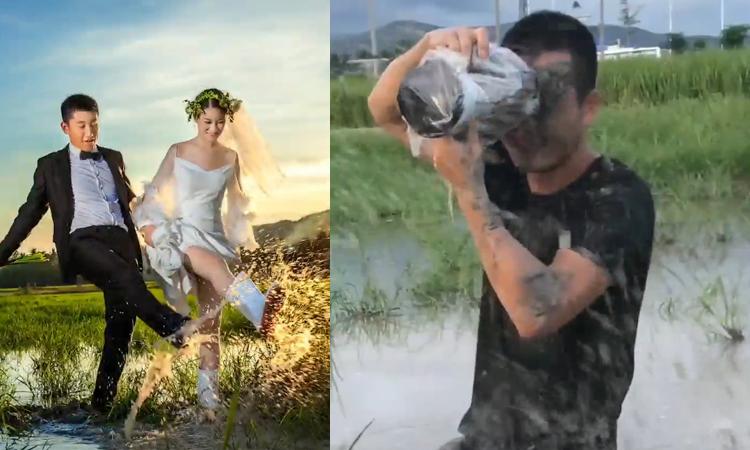 Thợ chụp ảnh bị hất bùn vào mặt khi hành nghề