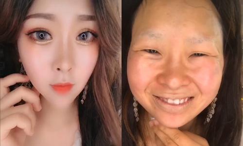 Cô gái Trung Quốc gây kinh ngạc sau khi bỏ trang điểm