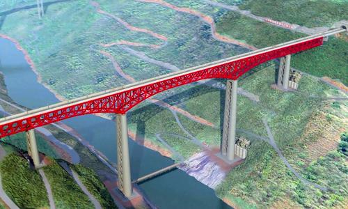 Trung Quốc xây cầu đường sắt giàn thép cao nhất thế giới