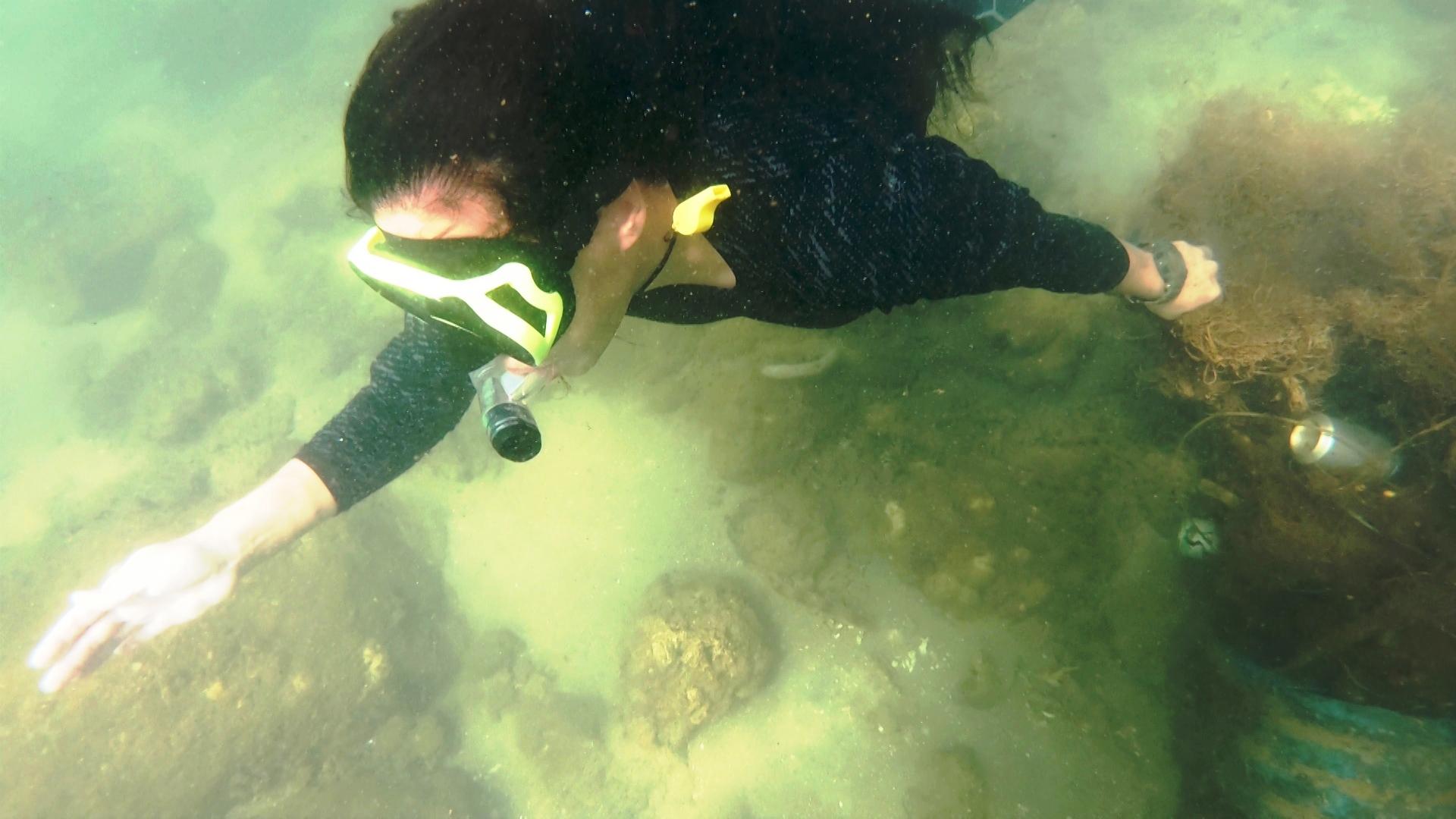 Chèo Sup lặn vớt rác dưới rạn san hô ở Đà Nẵng
