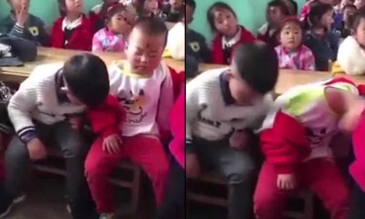 Hai đứa trẻ thi nhau vừa ngáp vừa ngủ gật trong lớp