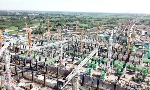 Công trường xây dựng ga đường sắt ngầm rộng 475.000 m2