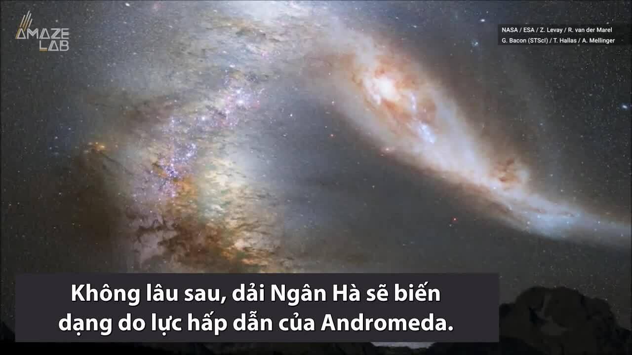 Viễn cảnh dải Ngân Hà va chạm 7 tỷ năm sau