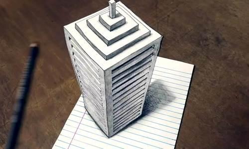 Cách vẽ toà tháp 3D
