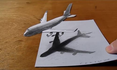 Cách vẽ máy bay tạo cảm giác 3D