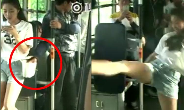 Thanh niên móc túi bị cô gái đá văng trên xe bus