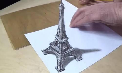 Cách vẽ tháp Eiffel nổi trên mặt giấy