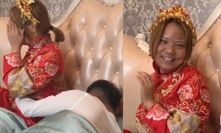 Chú rể tá hỏa khi thấy mặc mộc cô dâu