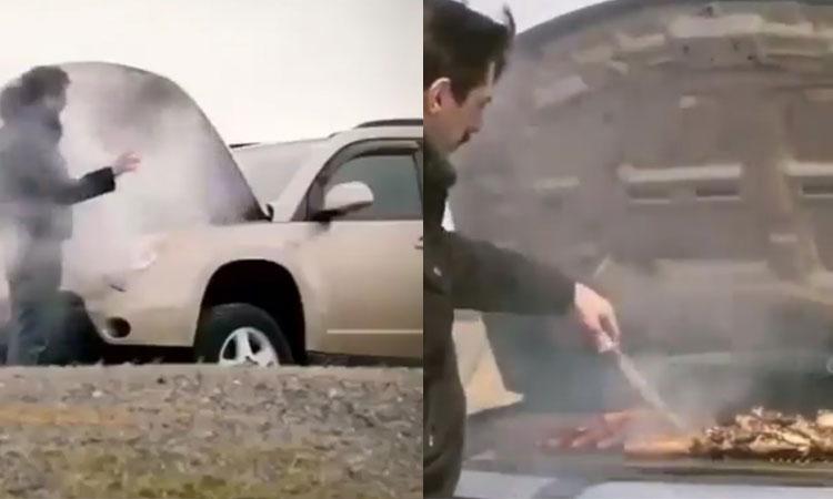 Tài xế mời người đi đường ăn BBQ