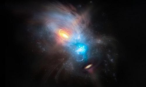 Hai siêu hố đen mắc kẹt trong vụ va chạm thiên hà