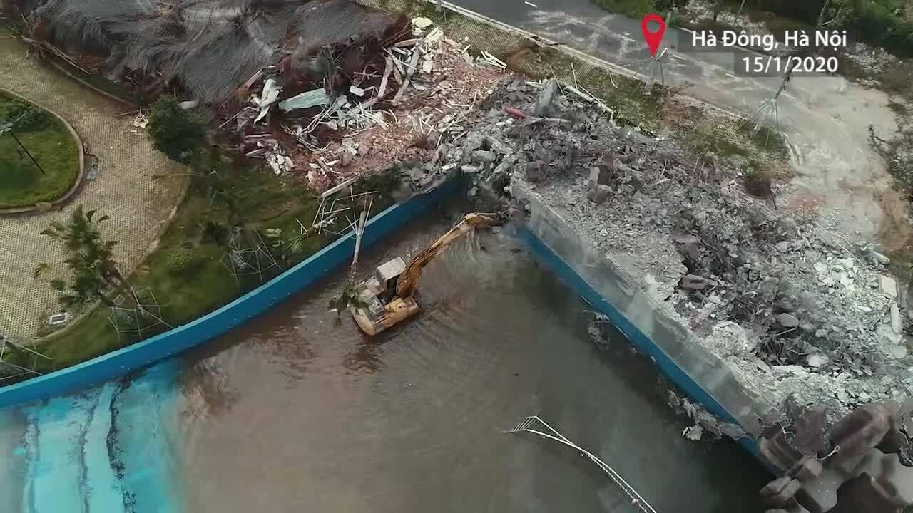Công viên nước Thanh Hà bị tháo dỡ vì xây không phép