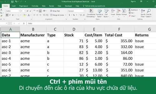 Một số tổ hợp phím tắt hữu dụng trong Excel