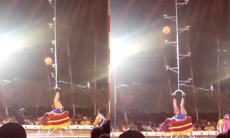 Dùng chân điều khiển, cô gái đưa quả bóng vào rổ ngoạn mục