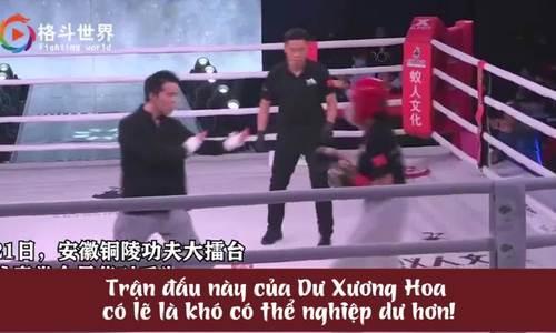 Võ sư Vịnh Xuân đấu võ như 'mèo cào' với nữ võ sĩ nghiệp dư