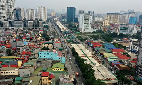 Hai cầu cạn ở thủ đô nhìn từ trên cao