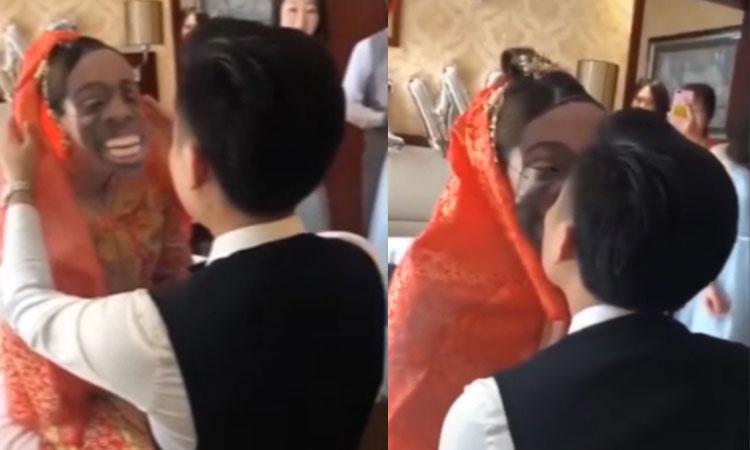 Thấy cô dâu đeo mặt nạ xấu xí, chú rể vẫn ôm hôn say đắm