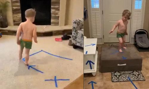 Mẹ trẻ thử thách con trai tại nhà