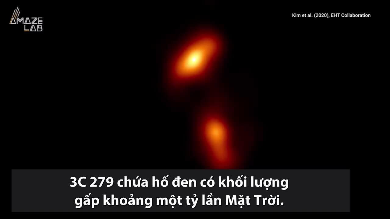 Ảnh chụp hố đen siêu khối lượng phun tia vật chất