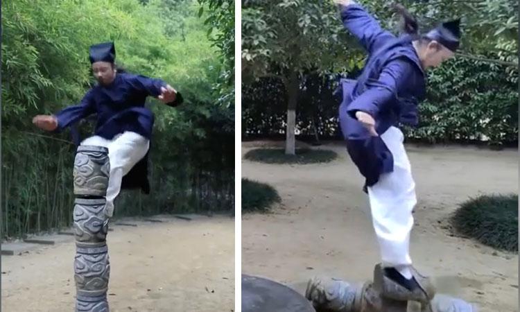 Màn biểu diễn khinh công bị lỗi của võ sư Trung Quốc