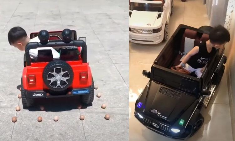 Cậu bé 5 tuổi biểu diễn kĩ năng lái xe thượng thừa