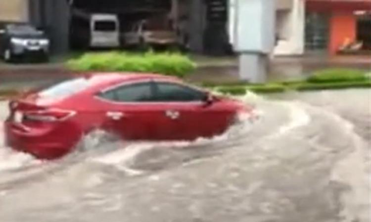 Ôtô 'đuối nước' vì tài xế lái vào đường ngập