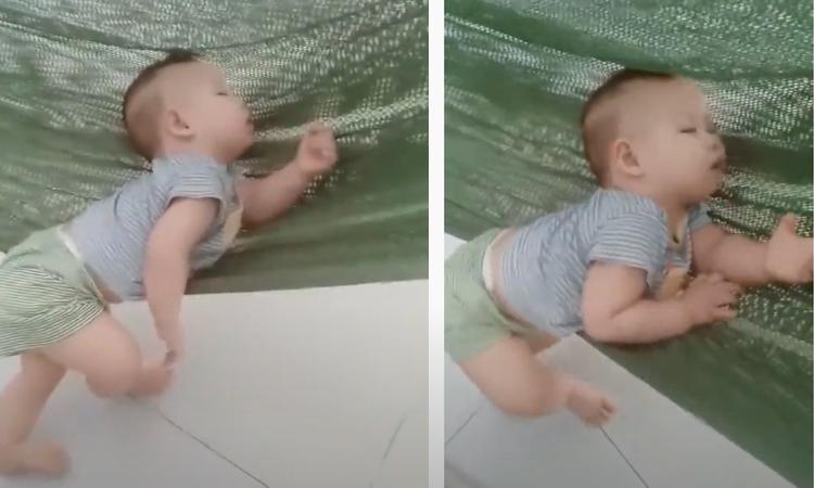 Tư thế ngủ độc đáo của em bé