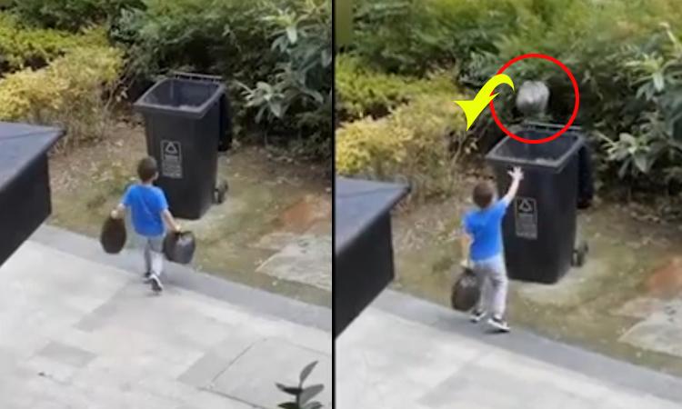 Pha vứt rác cồng kềnh của cậu bé