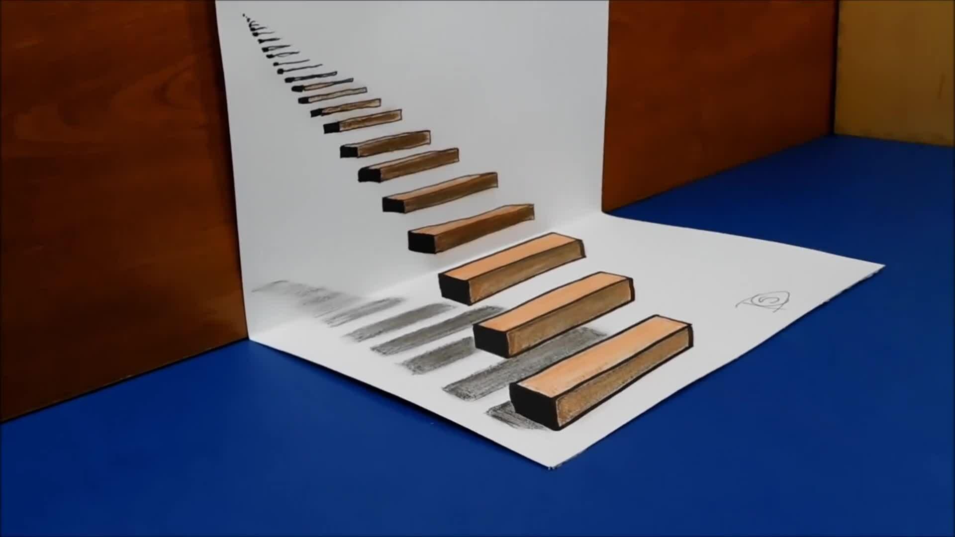 Vẽ bậc thang 'xuyên giấy'