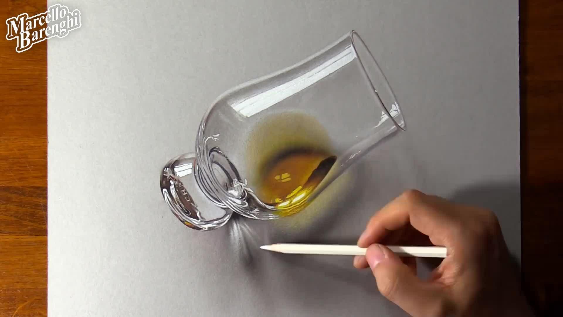 Vẽ ly nước như thật
